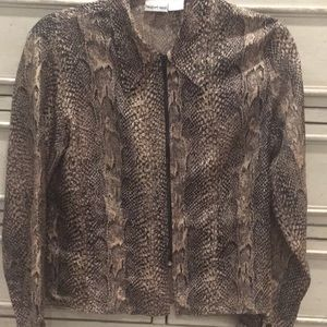 100% Silk snake print collared long sleeve blouse